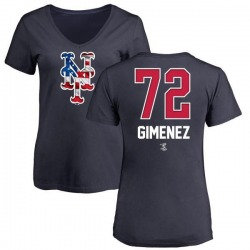 Women's Andres Gimenez New York Mets Name and Number Banner Wave V-Neck T-Shirt - Navy